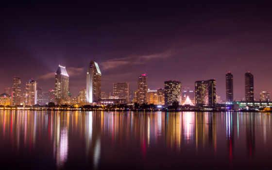 san, ночь, skyline, город, sana, diego, urban, landscape, горизонт