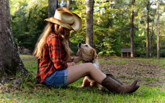 devushka, собака, шляпа, трава, сидя, дерево, zakat, домик,