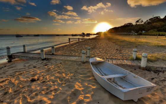 лодка, песок, море