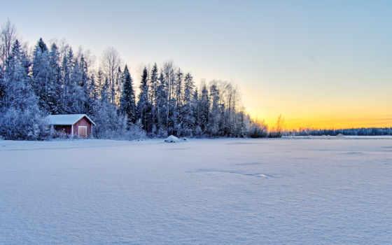lodge, winter, лес, landscape, леса, краю, снега, нетронутый, layer, trees,