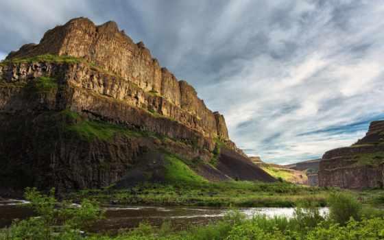 горы, чехии, природа, река,