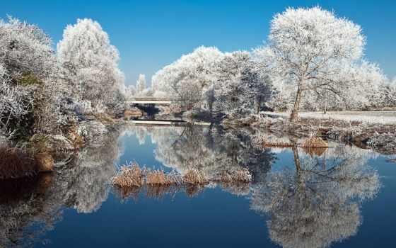 winter, иней, trees, park, пруд, природа, landscape, озеро, снег, заставки,