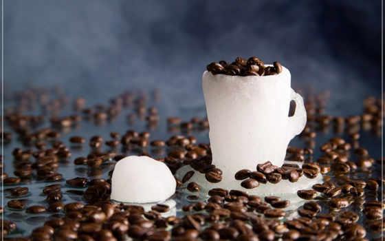 , лед, кофе, зерна