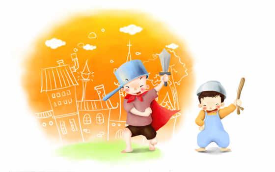 нарисованные, дети, мальчики, рыцарь, кастрюля, город, гордость, меч, палка