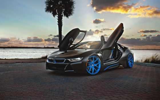bmw, закат, palm, car, море, автообои, высоком, goodfon,