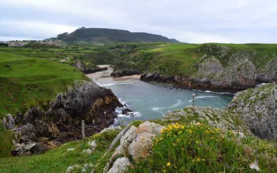 cantabria, испания, природа, гора, water, домики,