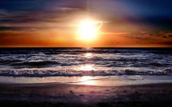 rising, море, sun, со, солнца, морем, широкоформатные, восход,
