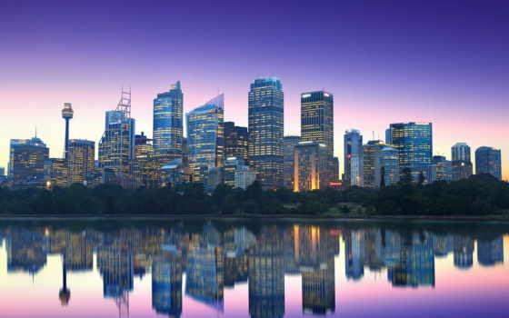 sydney, австралия, город, fondos, небоскребы, pantalla, ночь,
