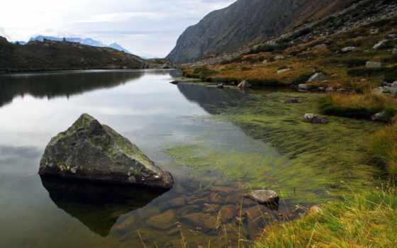 fondos, под, pantalla, водой, природа, montañas, piedras, algas, bloques, lago, agua,