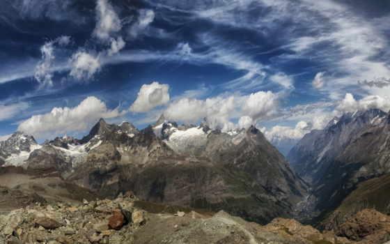 oblaka, горы, церматт, красивые, камни, swiss, красивый, картинок, взгляд, positive,