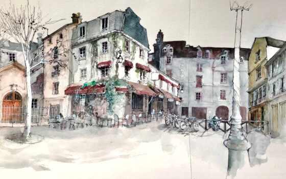 город, улица, краска, рисунок, watercolor, art, дерево, москва, house