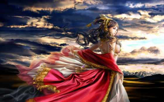 fantasy, sunset, рассвет, girl, lalunaq, hintergrundbilder, фэнтези, deviantart, twilight, предрассветные, ветер, sol, vestido, kleid, mädchen, стихии, foredawn, roten, ветра, властительница, red, dre