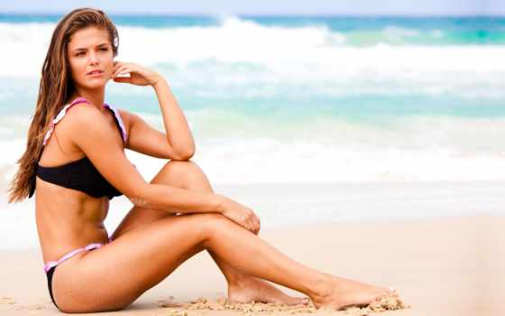 devushka, more, волосы, купальник, vzglyad, пляж, длинные, волны, glaza, вишня,