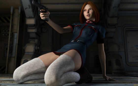 чулки, девушка, пистолет, рыжая, униформа, графика, девушки,