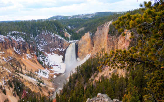 yellowstone, изображение, картинка, природа, usa, waterfalls, паркс, desktop, парки,