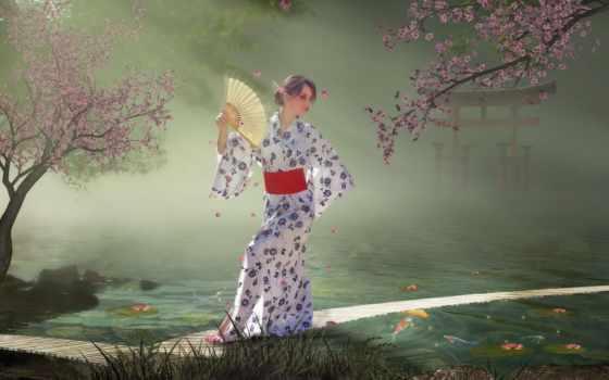 кимоно, девушка, devushki, веером, сам, обмахивает, fan, art,