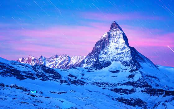 маттерхорн, гора, фотографий, границе, горы, находится, янв, швейцарии, top, альп, италии,