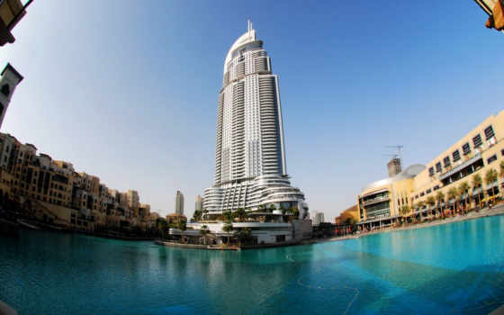 небоскрёб, dubai, high, skyscrapers, water, blue,