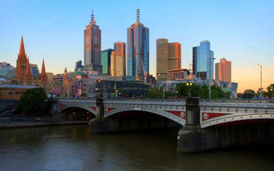 melbourne, австралия, река, ярра, небоскребы, мост, здания,