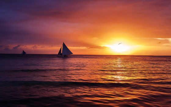 закат, sun, море, тучи, настроение, небо, sailboat,