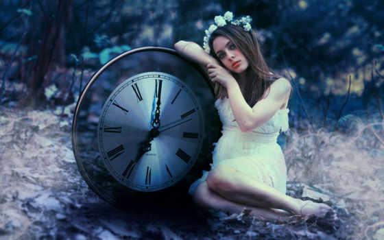 часы, full, девушка