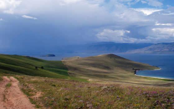 горы, water, остров, land, durdle, tapety, más,