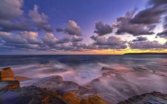 море, закат, камень, дерево, туман, снег, побережье, берег, облако, fore