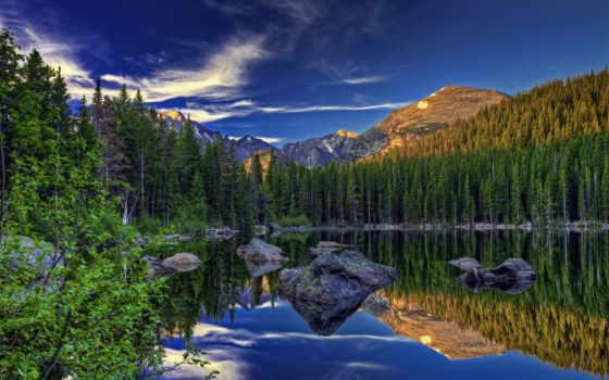 priroda, ozero, oblaka