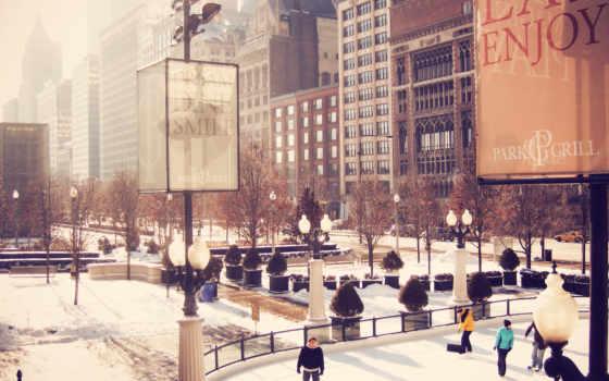 chicago, центр, иллинойс, usa, cityfront, люди,