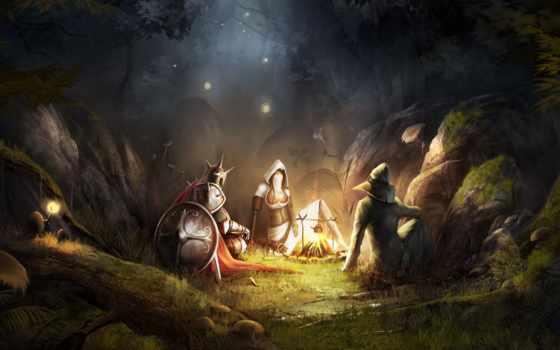 лес, fantasy, artwork, природа, warriors, огонь, trine, доспех, free,