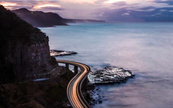 , море, скалы, дорога, вечер,