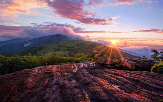 рассвет, sun, без, регистрации, небо, красивые, горы, oblaka,