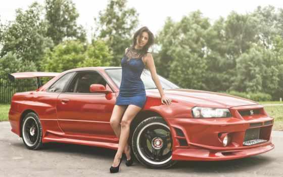 nissan, skyline, модель, women, nismo, платье, red, sexy, cars,
