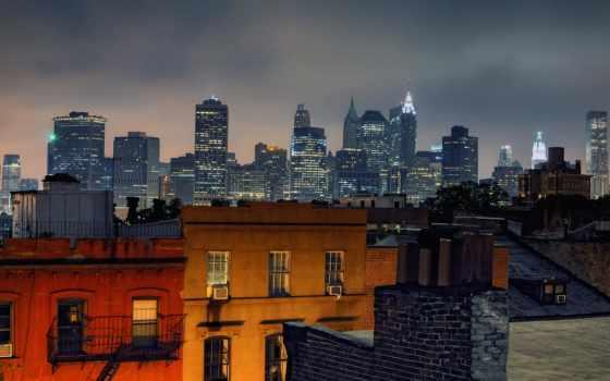 бруклин, new, york, город, heights,