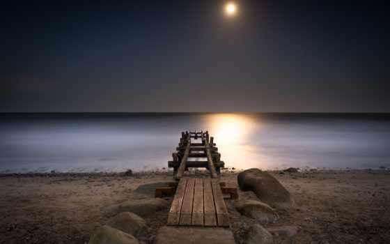 pier, море, луна, baltic,