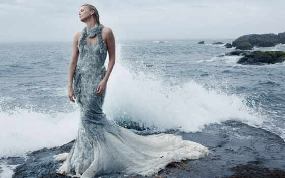 платье, девушка, море, шарлиз, актриса, вечер, surf, брызги, терон, волна