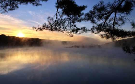 туман, восход