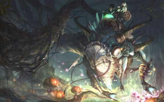 fantasy, существа, сверхъестествен, art, лес, ветви, существо, верхом, тыквы,
