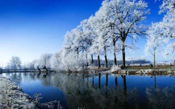 winter, season, снег, water, art, природа, mountains, más,