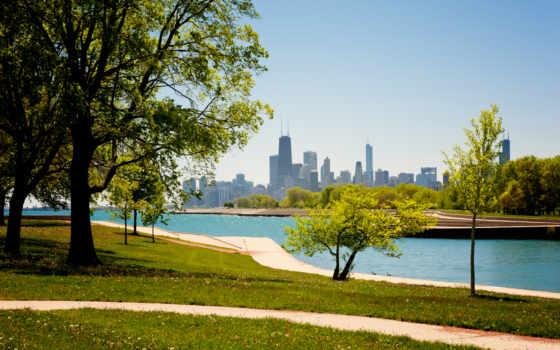 chicago, американский, сша, иллинойс, usa, здания, небоскребы,
