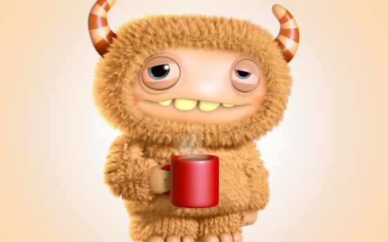coffee, утро, monster, cute, funny, cartoon, характер, графика,