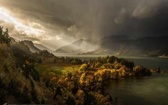 природа, пасмурно, небо, просвет, горы, дождь, солнца, лес, сша, осень, море,