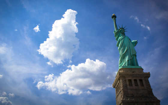 статуя, liberty, свободы, нью, york, usa, new, сша, город,
