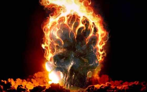 череп, burning,