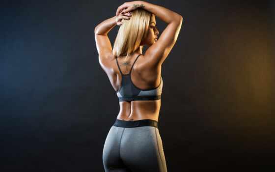спина, фитнес, девушка, упражнение, красивый, buttock, workout, club, posture