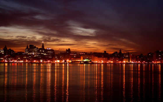 город, ночь, городов, огни, виды, фонари,