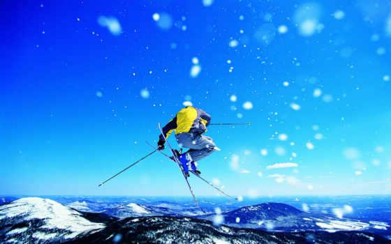 ,лыжи, горы, прыжок,
