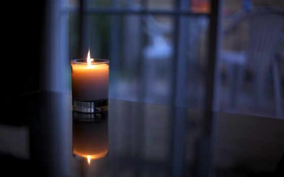 свеча, огонь, отражение, свет, glass, свечи, стаканчик, wax,