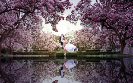весна, девушка, park