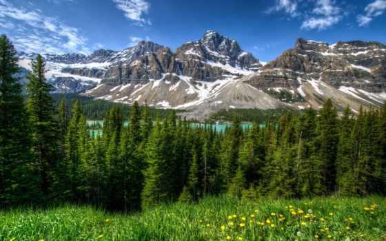 озеро, природа, изображение, снег, landscape, banff, гора, free, mountains,